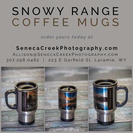 SenecaCreekPhotography.com Laramie Wyoming Travel Coffee Mug with photo of the Snowy Range Mountains