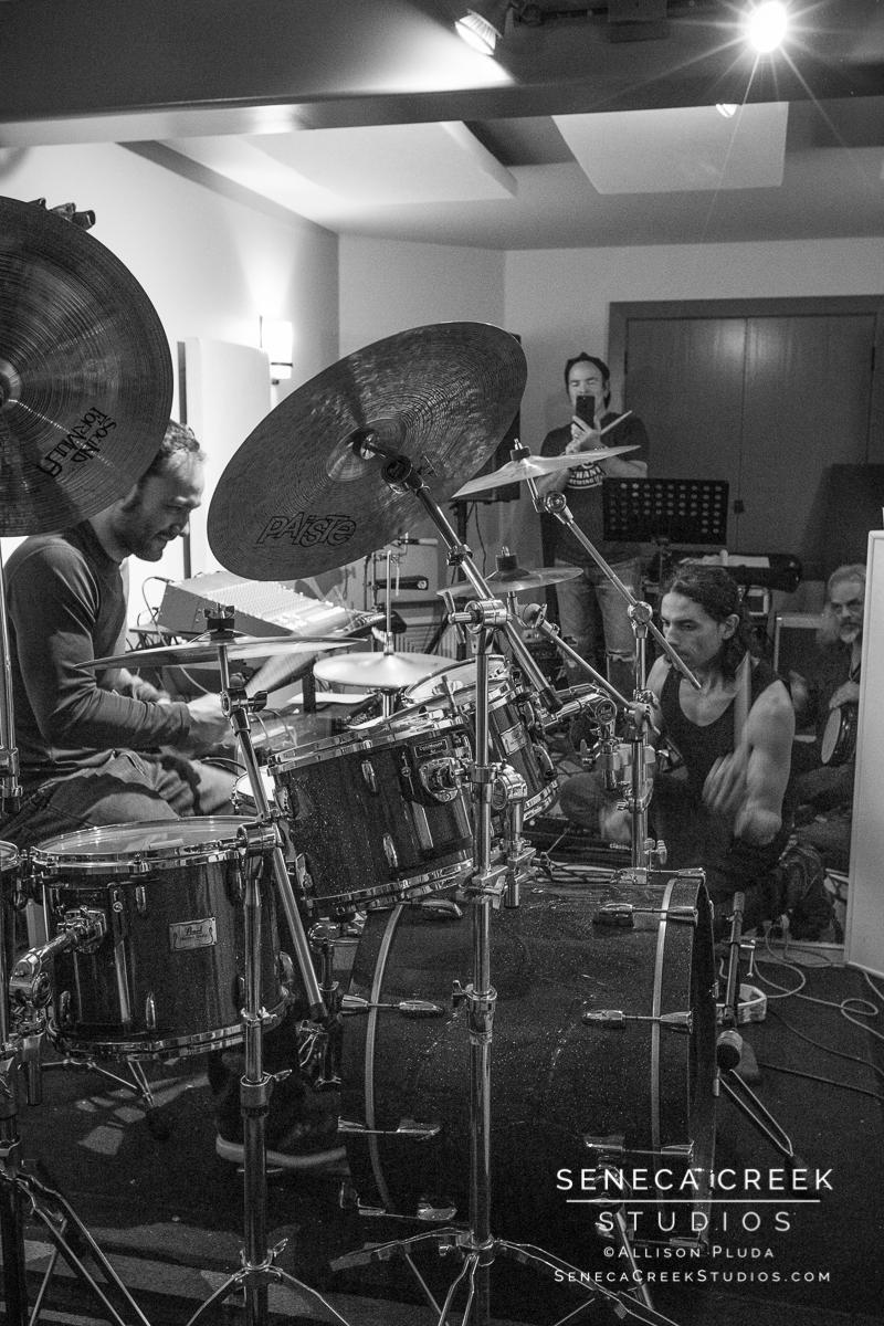 SenecaCreekStudios.com by Allison Pluda - drum jam at the Recordium in Fort Collins, Colorado